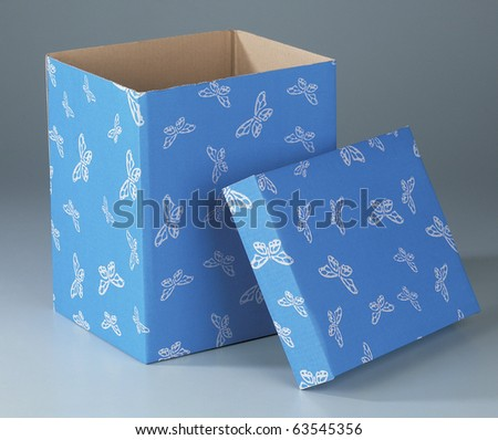 A studio shot of a designated box with butterflies pattern.