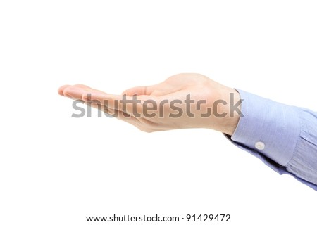 A studio shot of a male hand isolated on white background - stock photo