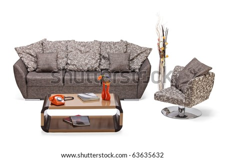 A studio shot of a modern furniture, sofa and chair isolated on white background - stock photo