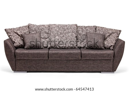 A studio shot of a modern sofa isolated against white background - stock photo