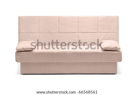 A studio shot of a modern white sofa isolated on white background