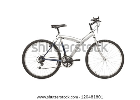 A studio shot of a mountain bike isolated against white background - stock photo