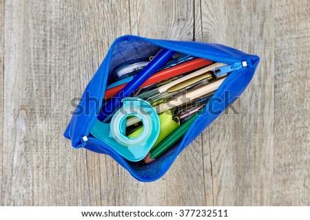 A studio shot of a pencil case up close - stock photo