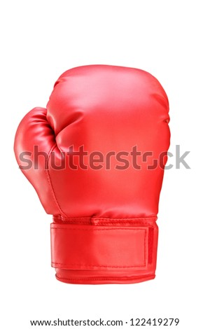 A studio shot of a red boxing glove isolated on white background - stock photo