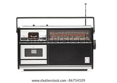 A studio shot of a retro styled radio isolated on white background
