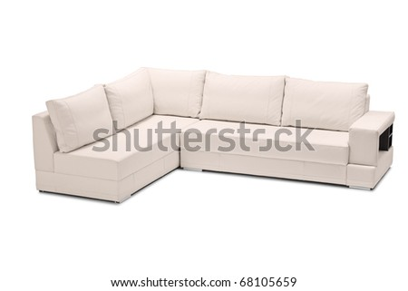 A studio shot of a white leather sofa isolated against white background - stock photo