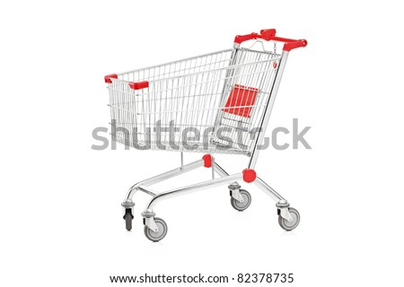 A studio shot of an empty shopping cart isolated on white background