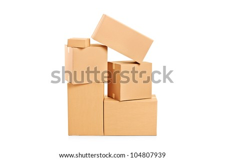 A studio shot of many paper boxes isolated on white background - stock photo
