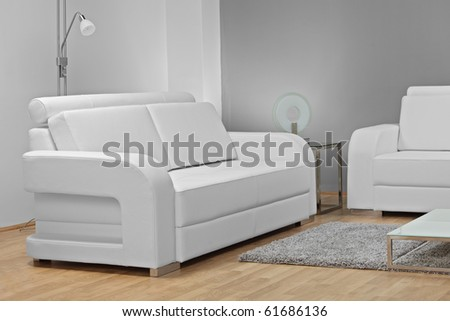 A studio shot of white furniture