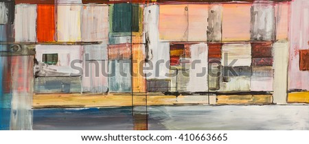 A study in geometric abstraction; a long, thin painting. - stock photo