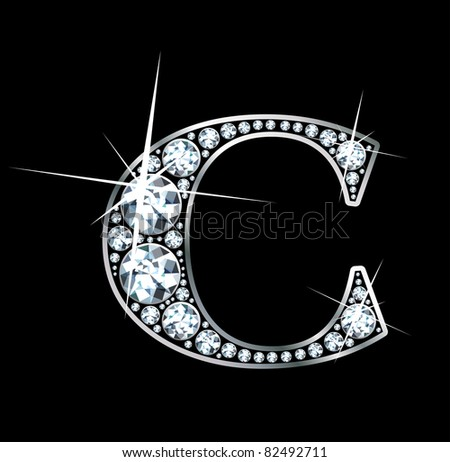 "A stunning beautiful ""C"" set in diamonds and silver. Raster."