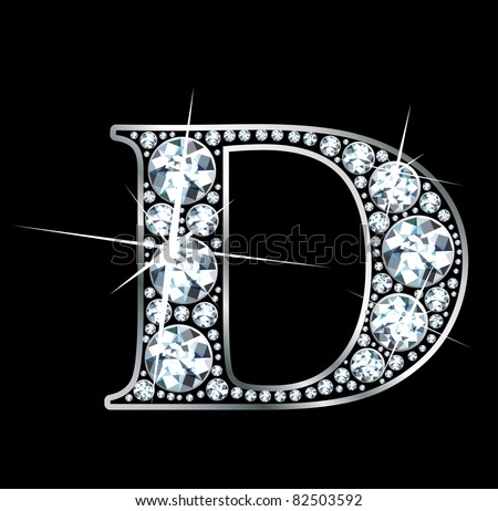 """A stunning beautiful """"D"""" set in diamonds and silver. Raster - stock photo"""