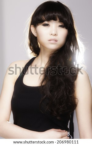 A stunning Chinese girl Poses in the studio.