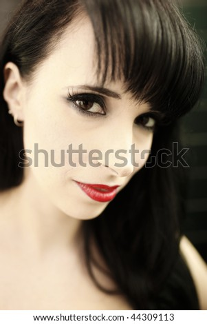 a stunning looking woman posing in latex fetish clothing - stock photo