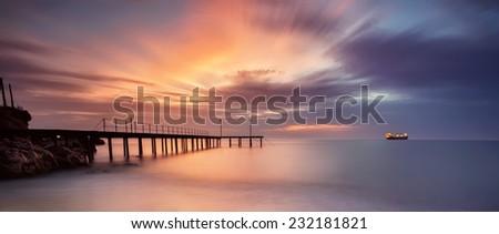 A stunning sea sunrise at the Black Sea coast - stock photo