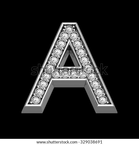 """A stunningly beautiful """"A"""" set in diamonds and silver.  - stock photo"""