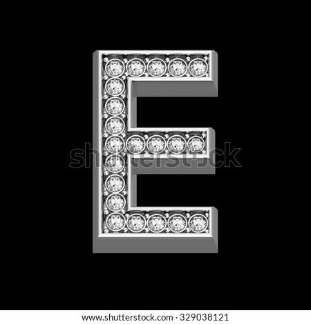 "A stunningly beautiful ""E"" set in diamonds and silver.  - stock photo"