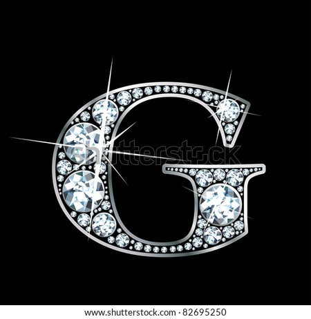 "A stunningly beautiful ""G"" set in diamonds and silver. Raster."