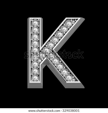 """A stunningly beautiful """"K"""" set in diamonds and silver.  - stock photo"""