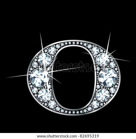 "A stunningly beautiful ""O"" set in diamonds and silver. Raster."