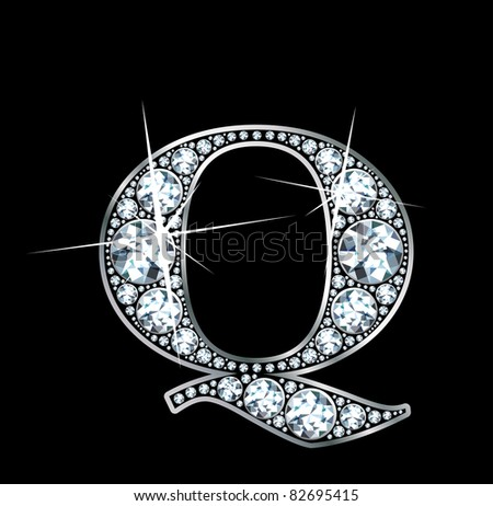 "A stunningly beautiful ""Q"" set in diamonds and silver. Raster."