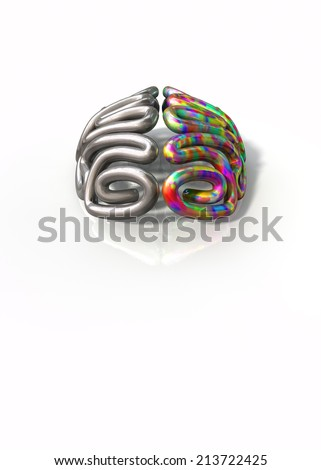 A stylised metal brain with the left side depicting an conservative and logical mind, and the right side depicting a flamboyant and colorful side on an isolated white background with copy space
