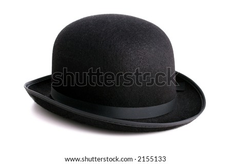 A stylish black bowler hat - isolated with clipping path - stock photo