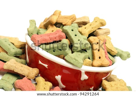 A stylish dog bowl full of the mans best friends treat. - stock photo