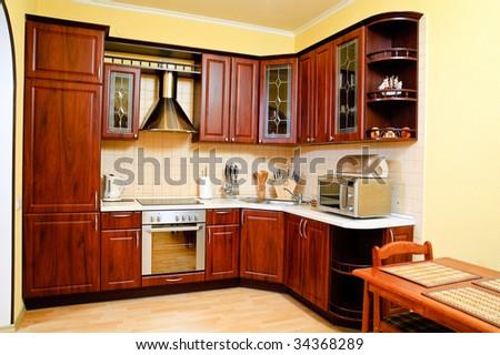 A stylish modern kitchen interior - stock photo