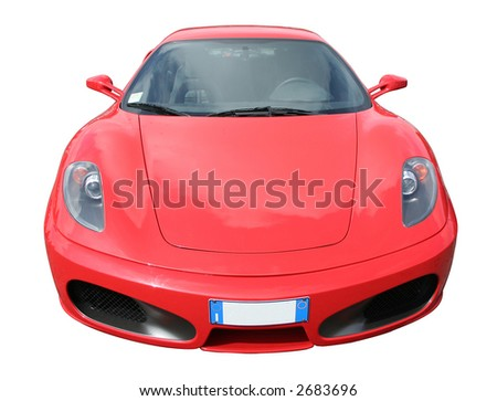 A stylish red sports car with Italian plate, front view. Debadged and isolated on white - stock photo
