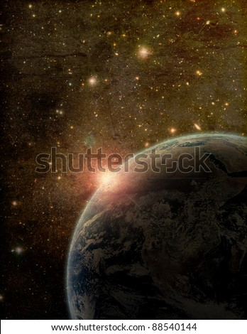 A stylized, distressed and textured, artistic rendition of the Earth floating in space.