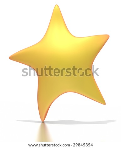 A stylized golden star reaches up.  Isolated on a white background with a clipping path.