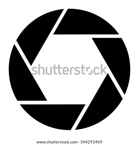 A stylized graphic for a camera lens aperture opening. Great logo for photography related art. - stock photo
