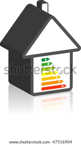 A stylized home with an energy pass. All isolated on white background. - stock photo