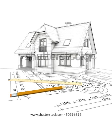 a stylized house model  with floor plan, ruler and  pencil, isolated on white  background - stock photo