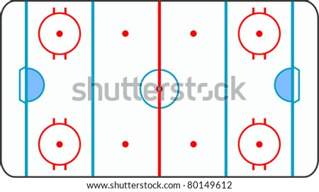A stylized ice hockey ground with all lines on white background - stock photo