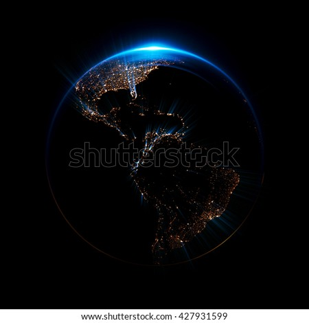 A stylized image of a planet  Earth. 3d rendering. city light map. Abstract lights of technology. Abstract ring background with luminous cities. Space for message. Maps from NASA imagery