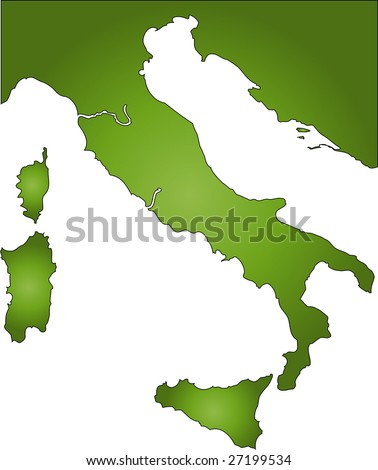 A stylized map of Italy in green tone. All isolated on white background.