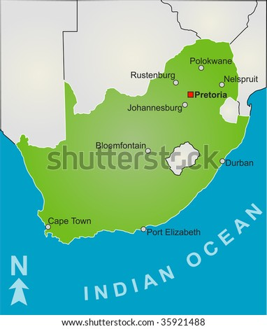 A stylized map of South Africa showing all playing venue of the soccer world cup 2010. - stock photo