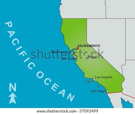 A stylized map of the state of California showing different big cities and nearby states. - stock photo