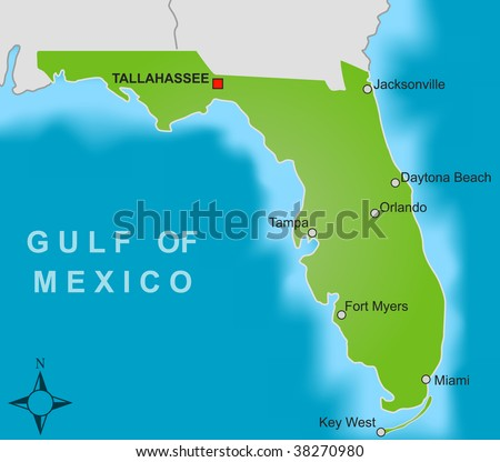 Florida State Map Stock Images RoyaltyFree Images Vectors - Map of florida showing cities