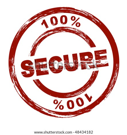 A stylized red stamp shows the term 100% secure. All on white background.