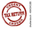 A stylized red stamp that shows the term urgent tax return. All on white background. - stock photo