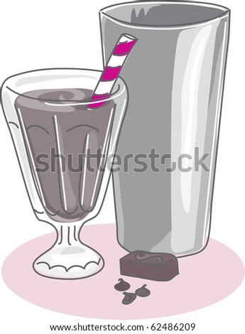 A stylized sketch of a milkshake in a soda glass with stainless steel mixing cup and chocolate chips and candy. - stock photo