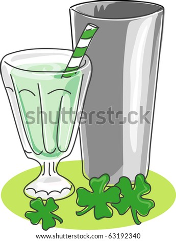 A stylized sketch of a milkshake in a soda glass with stainless steel mixing cup and shamrocks. File contains global color swatches and NO gradients. Sketched lines are on separate layer from fills. - stock photo