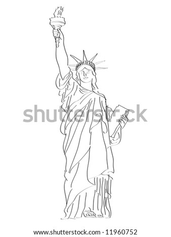 A stylized sketch of the Statue of Liberty - stock photo
