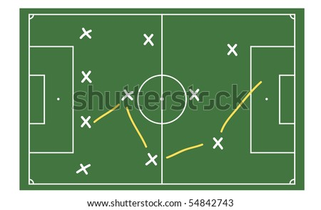 A stylized soccer ground with tactics. All on white background.