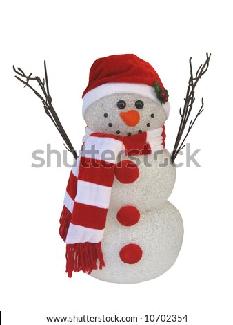 A styrofoam snowman isolated on a white background - stock photo