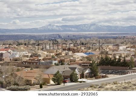A suburb of Albuquerque, New Mexico - stock photo