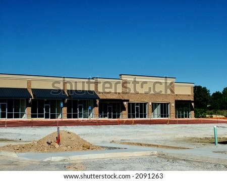 A suburban shopping center under construction in Atlanta. - stock photo
